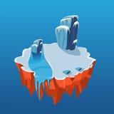 Isola ghiacciata isometrica del fumetto per il gioco, vettore Immagine Stock