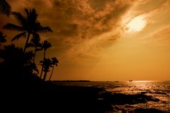 Isola Hawai di tramonto di Kona grande immagine stock libera da diritti