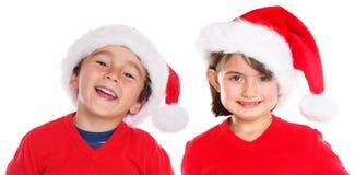 Isola heureux de sourire de Santa Claus de Noël de fille de garçon d'enfants d'enfants images stock