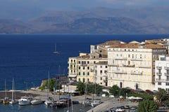 Isola ionica della città di Corfù immagini stock libere da diritti