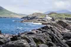 isola Irlanda di valentia della scogliera del faro immagini stock libere da diritti