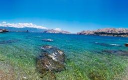 Isola Krk: Spiaggia di Baska Fotografia Stock