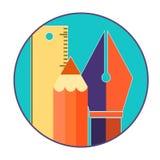 Isola liso do conceito de design web dos ícones das ferramentas de projeto Imagens de Stock Royalty Free