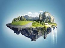 Isola magica con le isole di galleggiamento, la caduta dell'acqua ed il campo Immagine Stock Libera da Diritti