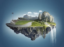 Isola magica con le isole di galleggiamento, la caduta dell'acqua ed il campo Fotografia Stock Libera da Diritti