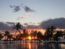 Isola magica delle Mauritius di tramonto di caduta fotografie stock libere da diritti