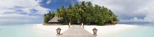 Isola Maldives di Ihuru panoramici Fotografie Stock Libere da Diritti