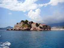 Isola Montenegro di Sveti Stefan Fotografie Stock Libere da Diritti