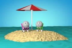 Isola nell'oceano con il simbolo di smiley di forma 3d della palla Immagini Stock Libere da Diritti