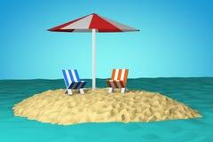Isola nell'oceano - poli scena bassa di stile 3d Fotografia Stock