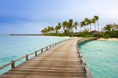 Isola in oceano, Maldives Fotografia Stock Libera da Diritti
