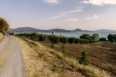 Isola Polvese: Trasimeno jeziora widok Obrazy Stock