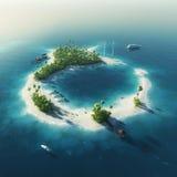 Isola privata Isola tropicale di estate di paradiso Fotografie Stock Libere da Diritti