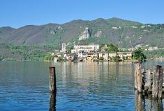 Isola San Giulio, lago Orta, Italia Fotografia Stock Libera da Diritti