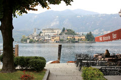Isola San Giulio in Lake Orta, Italy royalty free stock image