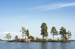 Isola selvaggia della roccia sul lago del nord Fotografia Stock