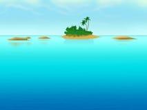 Isola sola con gli palma-alberi nel mare Fotografia Stock Libera da Diritti