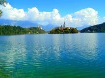 Isola sul lago sanguinato Fotografia Stock