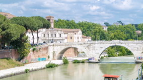 Isola tiberina timelapse is the biggest island of tibera river in rome. stock footage