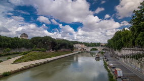 Isola tiberina timelapse hyperlapse is the biggest island of tibera river in rome. stock video footage