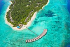 Isola tropicale ai Maldives Immagine Stock