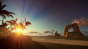 Isola tropicale con funzionamento della donna sulla spiaggia ad alba, inclinazione royalty illustrazione gratis