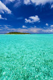 Isola tropicale con gli Palma-alberi della noce di cocco Fotografie Stock Libere da Diritti