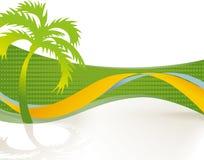 Isola tropicale con la palma Immagini Stock Libere da Diritti
