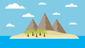 Isola tropicale con le montagne Fotografia Stock Libera da Diritti