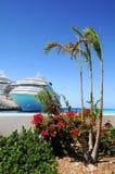 Isola tropicale con le navi da crociera Fotografie Stock Libere da Diritti