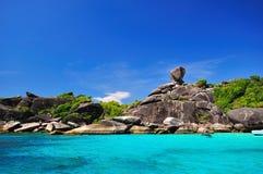 Isola tropicale della spiaggia del parco nazionale di Similan in Tailandia Fotografia Stock