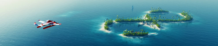 Isola tropicale di estate Piccolo aeroplano del mare che vola all'isola tropicale di paradiso privato sotto forma di segno di inf Fotografia Stock