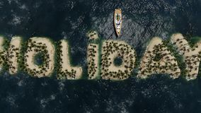 Isola tropicale di festa con la palma illustrazione di stock