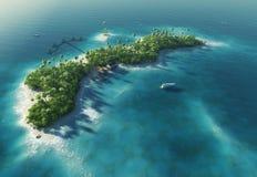 Isola tropicale di paradiso sotto forma di l'onda Fotografia Stock Libera da Diritti