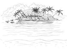 Isola tropicale disegnata a mano Fotografia Stock Libera da Diritti