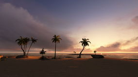Isola tropicale e navigazione dell'yacht al tramonto