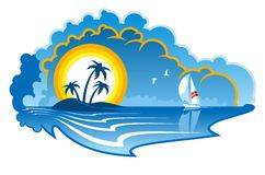 Isola tropicale idilliaca con un yacht Immagini Stock Libere da Diritti