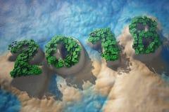 Isola tropicale in oceano con gli alberi come segno da 2018 anni Fotografia Stock