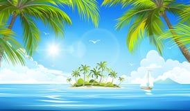 Isola tropicale Vettore Fotografie Stock Libere da Diritti