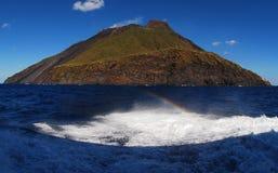 Isola vulcanica di Strombolie Fotografia Stock