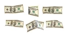 Isolado 100 notas de banco do dólar americano Imagens de Stock