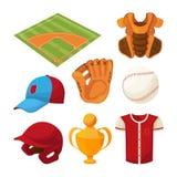 Isolado ajustado ícones dos desenhos animados do basebol no branco ilustração stock