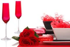 Isolado; Ajuste moderno romântico da tabela de B&W Foto de Stock Royalty Free