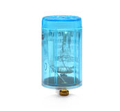 Isolado azul do acionador de partida da luz fluorescente no branco Imagens de Stock
