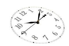 Isolado A cara do relógio é inclinada O seletor dos relógios no fundo branco As mãos no pulso de disparo Fotografia de Stock Royalty Free