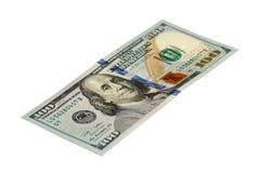 Isolado 100 dólares de cédula com trajeto Fotografia de Stock Royalty Free