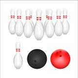 Isolado da bola de boliches e do Pin de boliches com fundo branco Vetor Ilustração Projeto gráfico Fotografia de Stock Royalty Free