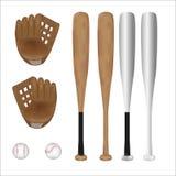 Isolado da bola, do bastão de beisebol e da luva de beisebol do basebol com fundo branco Vetor Ilustração Projeto gráfico objeto Imagens de Stock