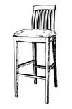 Isolado da cadeira da barra no fundo branco Ilustração do vetor em um estilo do esboço Fotos de Stock Royalty Free