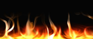 Isolado das chamas do fogo no fundo preto rendição 3d ilustração royalty free